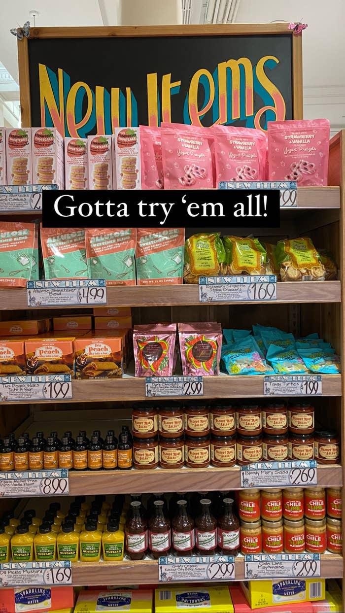 The shelf of new items at Trader Joe's.
