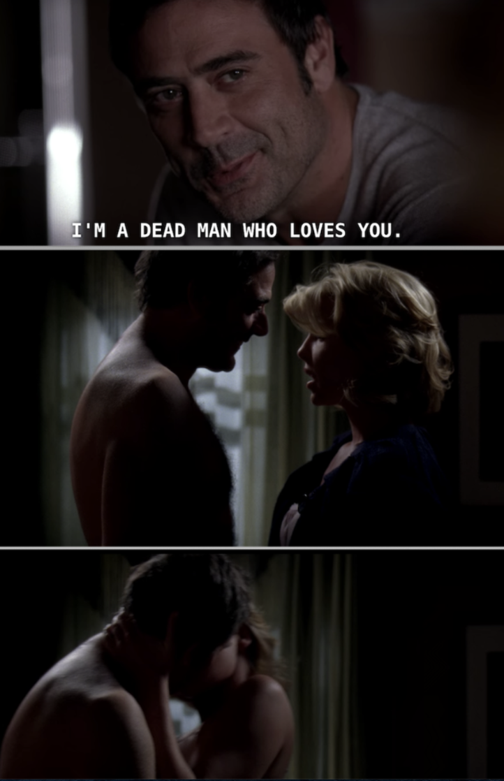Izzie having sex with the ghost of her dead ex-boyfriend, Denny