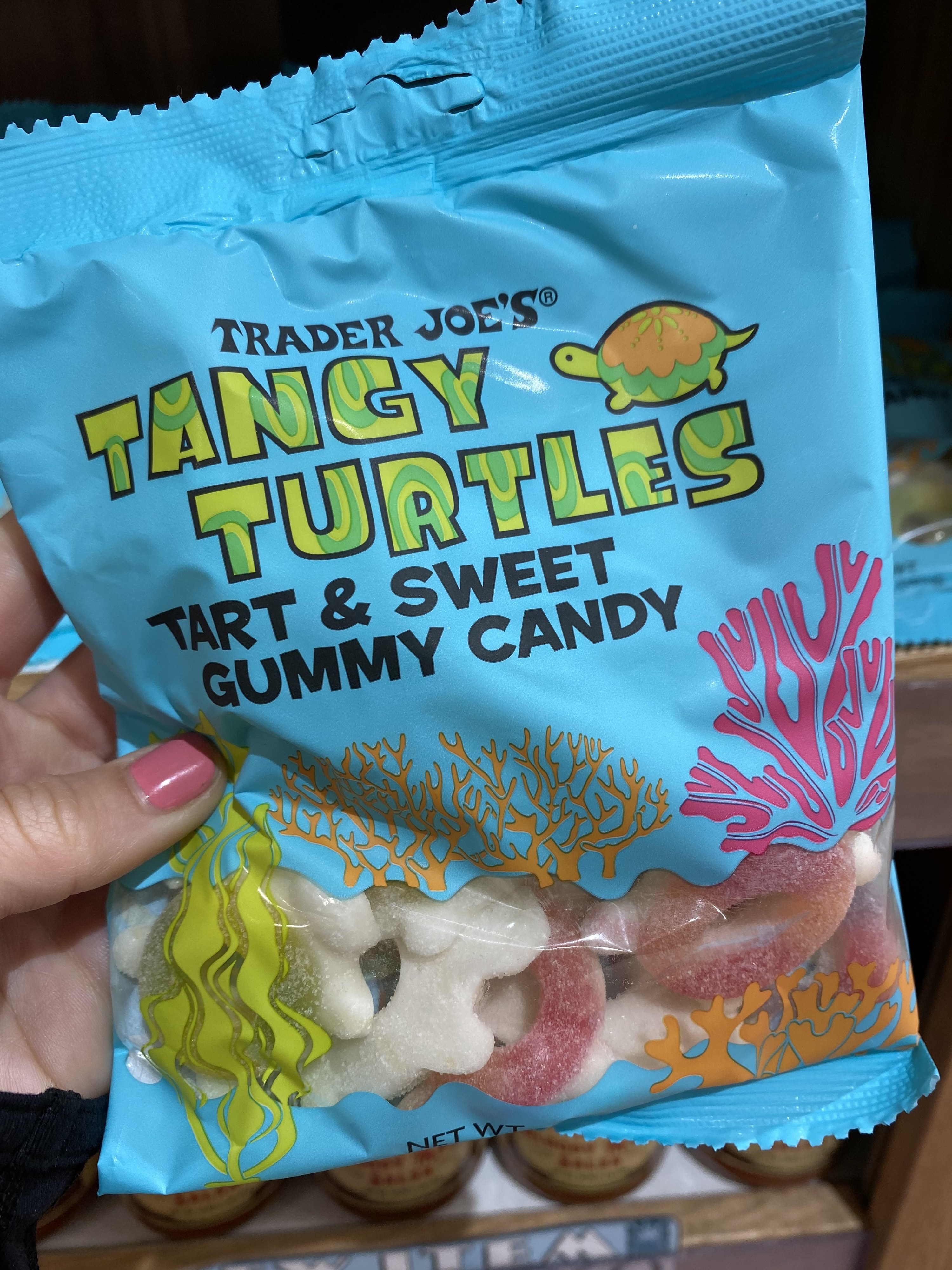 A bag of tart and sweet gummy turtles.
