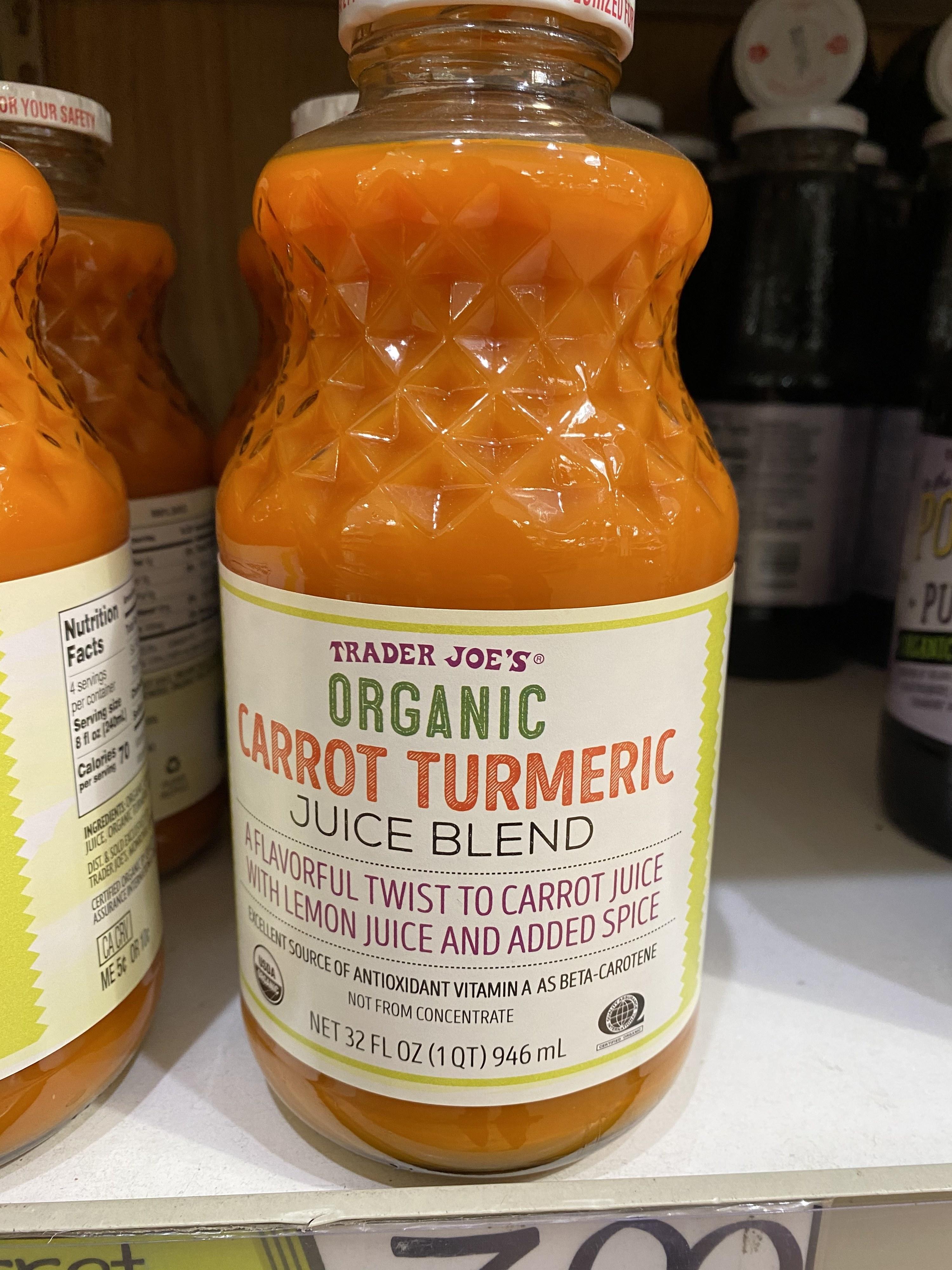 Carrot turmeric juice blend from Trader Joe's.