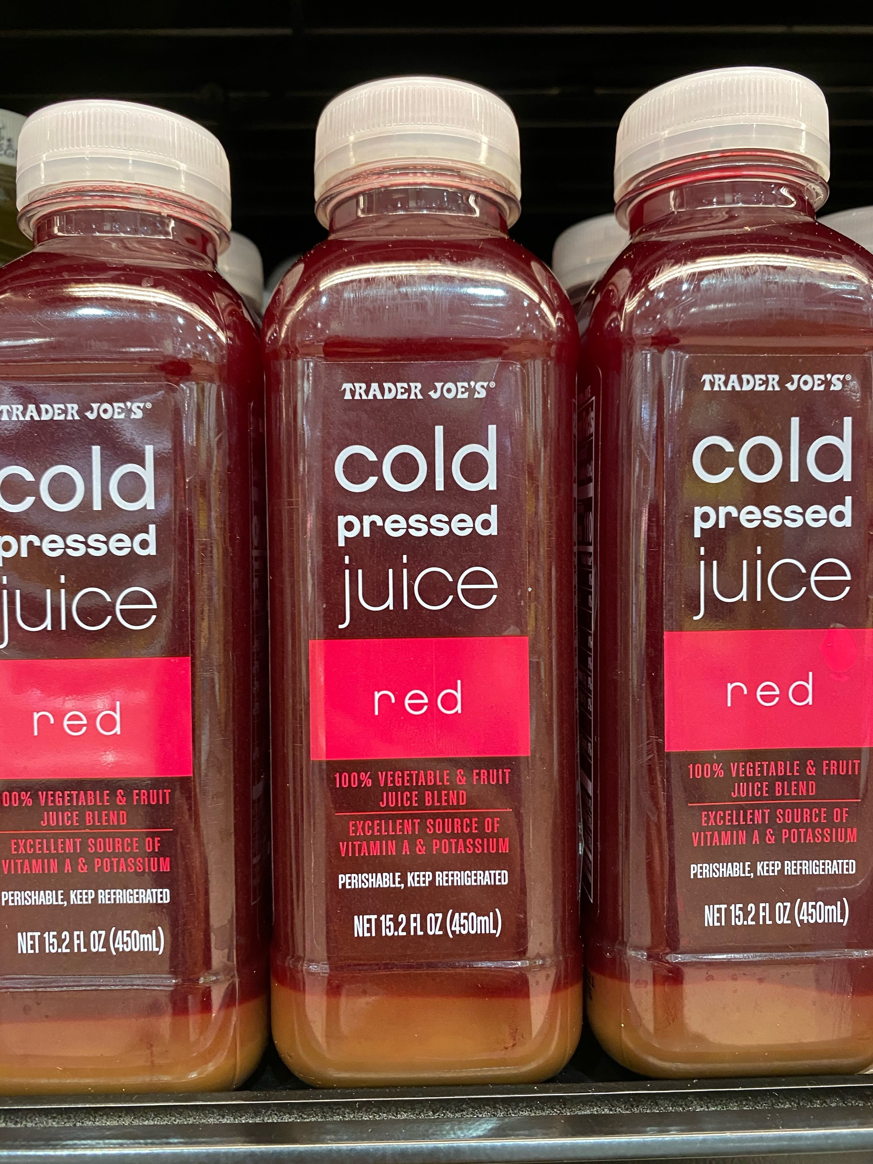 Cold pressed red juice from Trader Joe's.