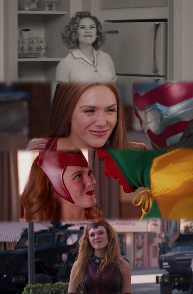 Wanda Maximoff scrunches her nose when looking at her husband, Vision, and children, Billy and Tommy.