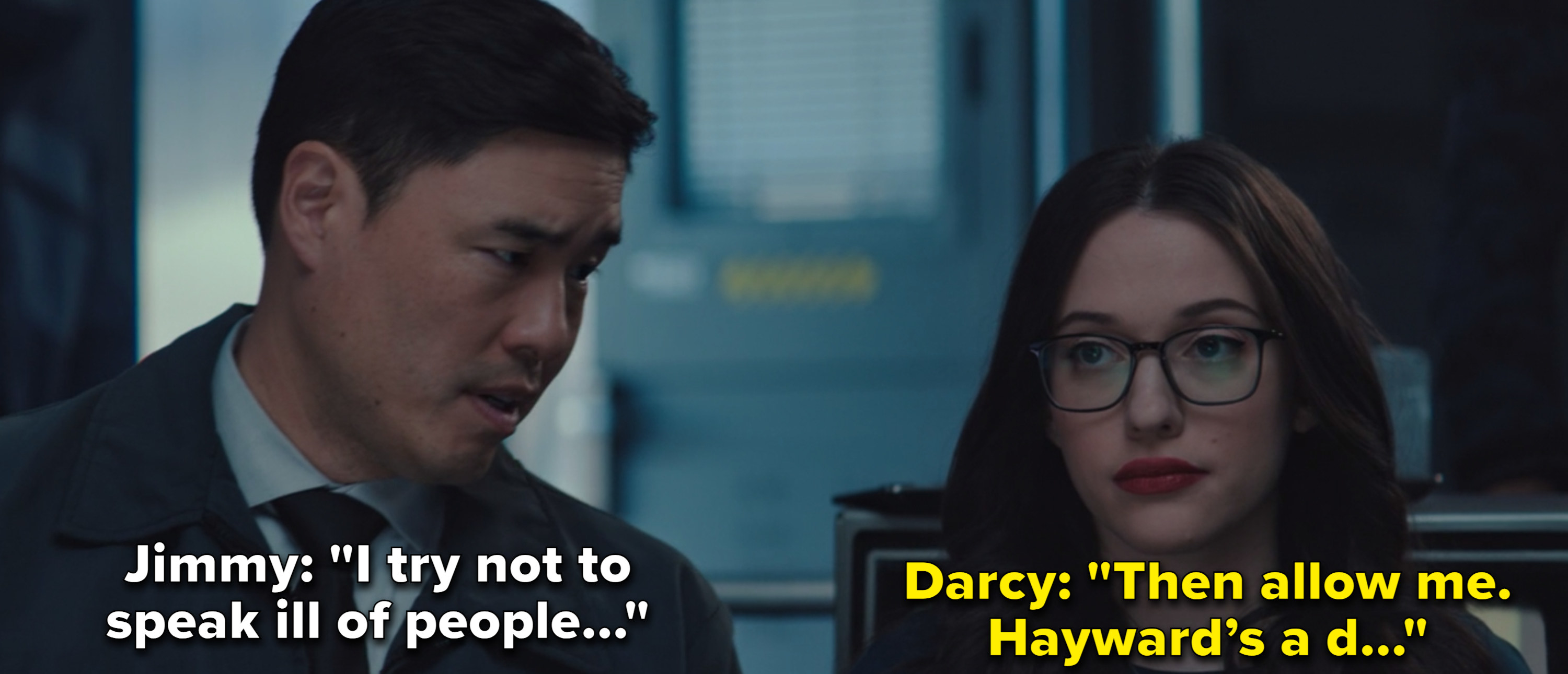 """Jimmy Woo leans to whisper to Darcy Lewis as they stand in for their military briefing and he said, """"I try not to speak ill of people."""" And Darcy responds, """"Then allow me. Hayward's a…"""""""