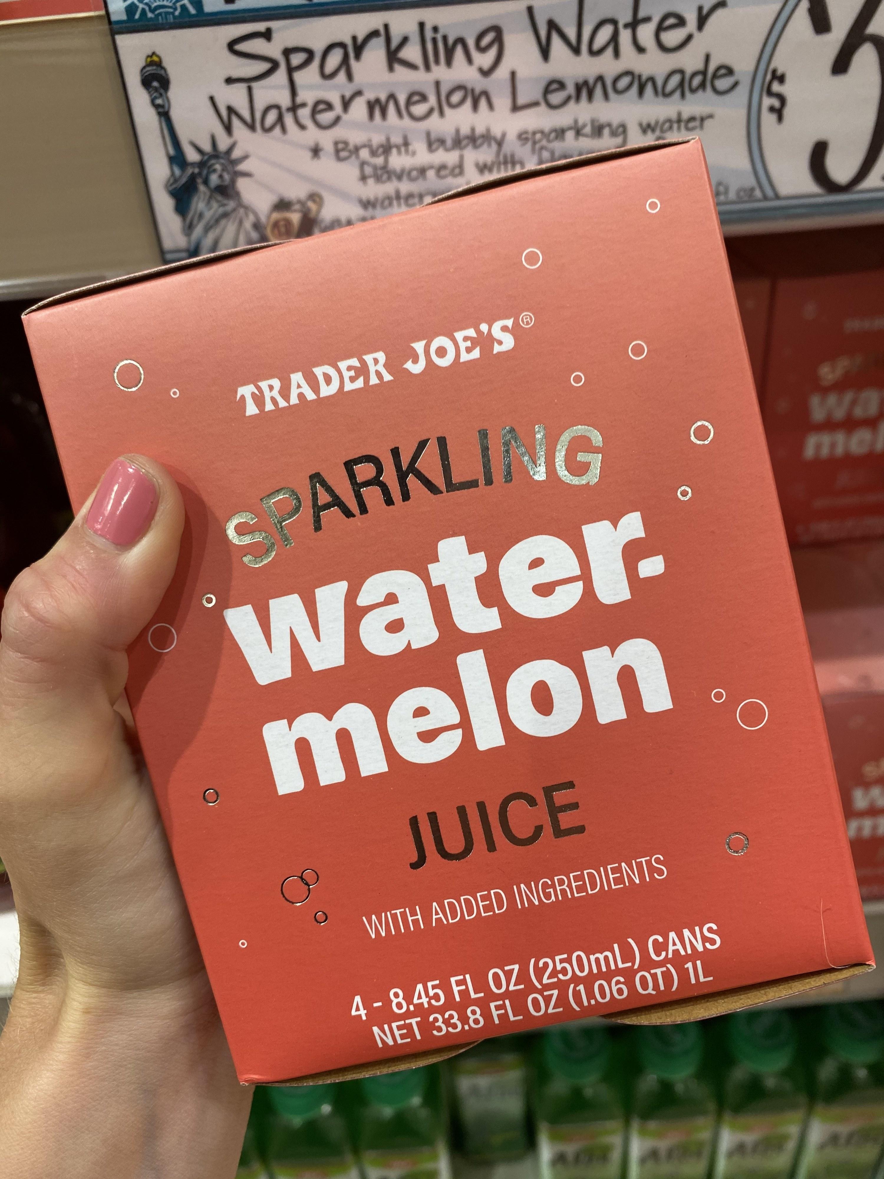 A box of Trader Joe's sparkling watermelon juice.