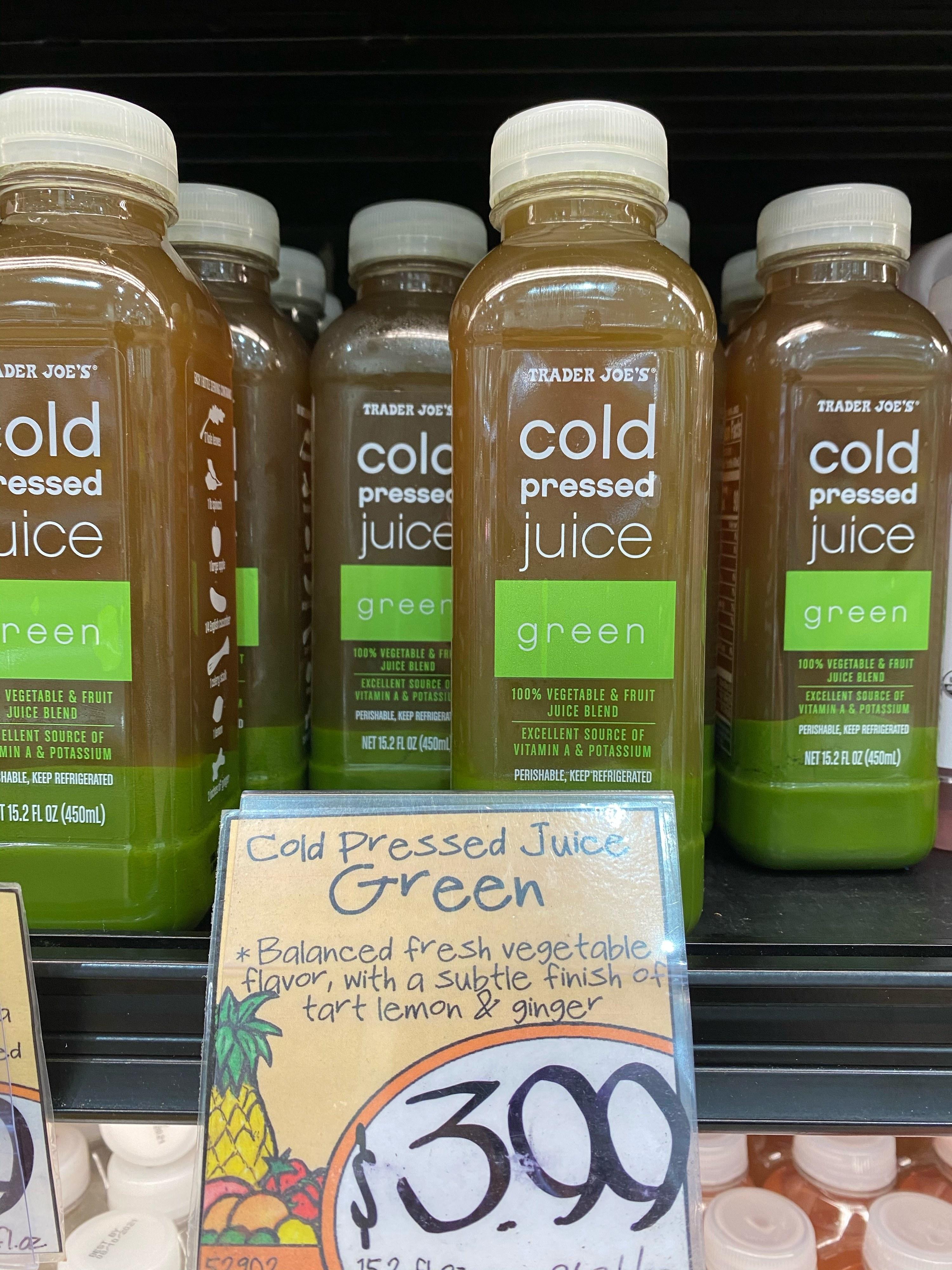 Trader Joe's cold pressed green juice.