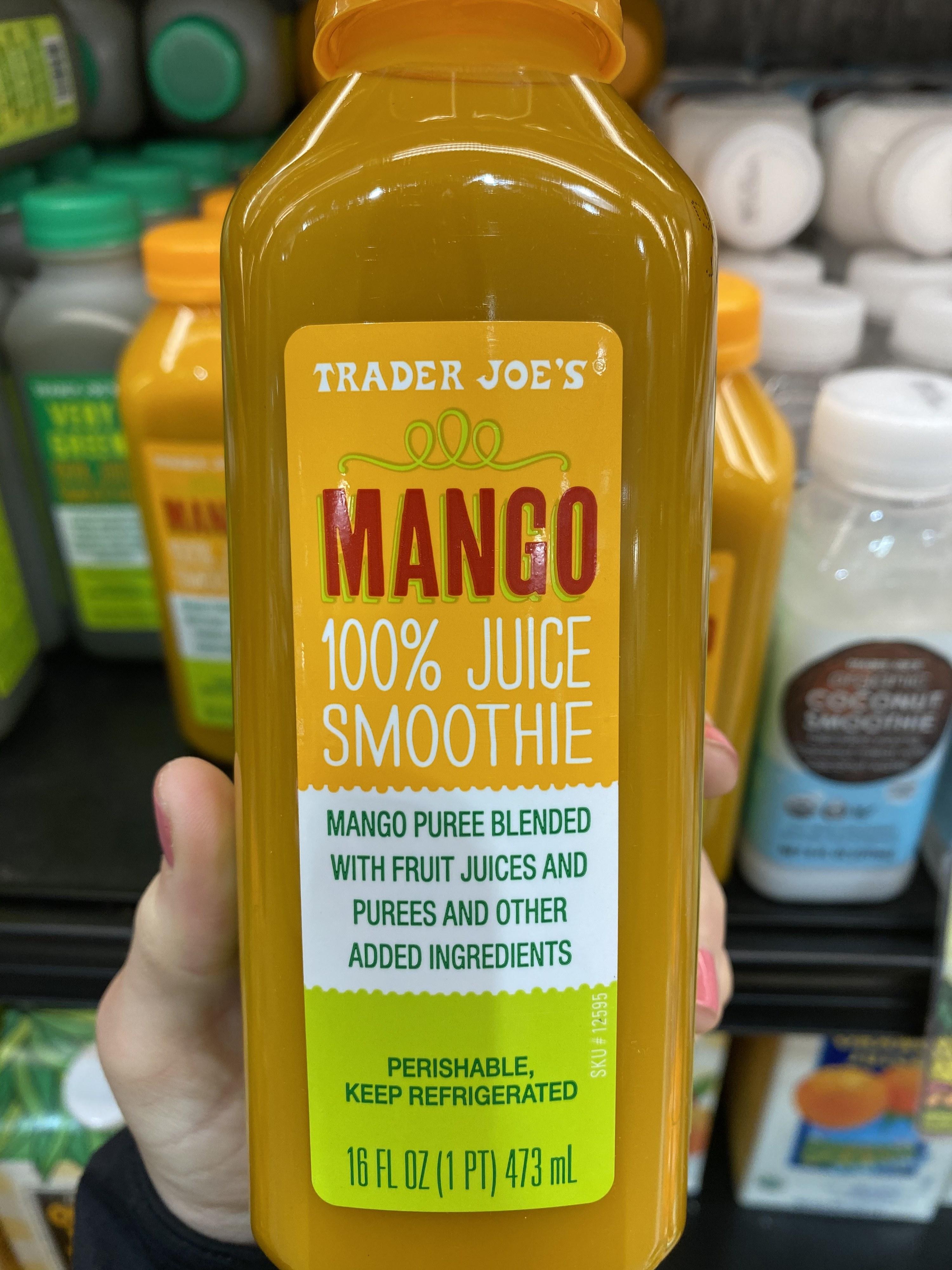 A bottle of Trader Joe's mango smoothie.
