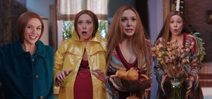 Wanda wears a blue wool coat, Wanda wears a yellow rubber rain jacket, Wanda hides her pregnant stomach with a bowl overflowing with fruit, and Wanda hides her pregnant stomach with a vase of flowers.