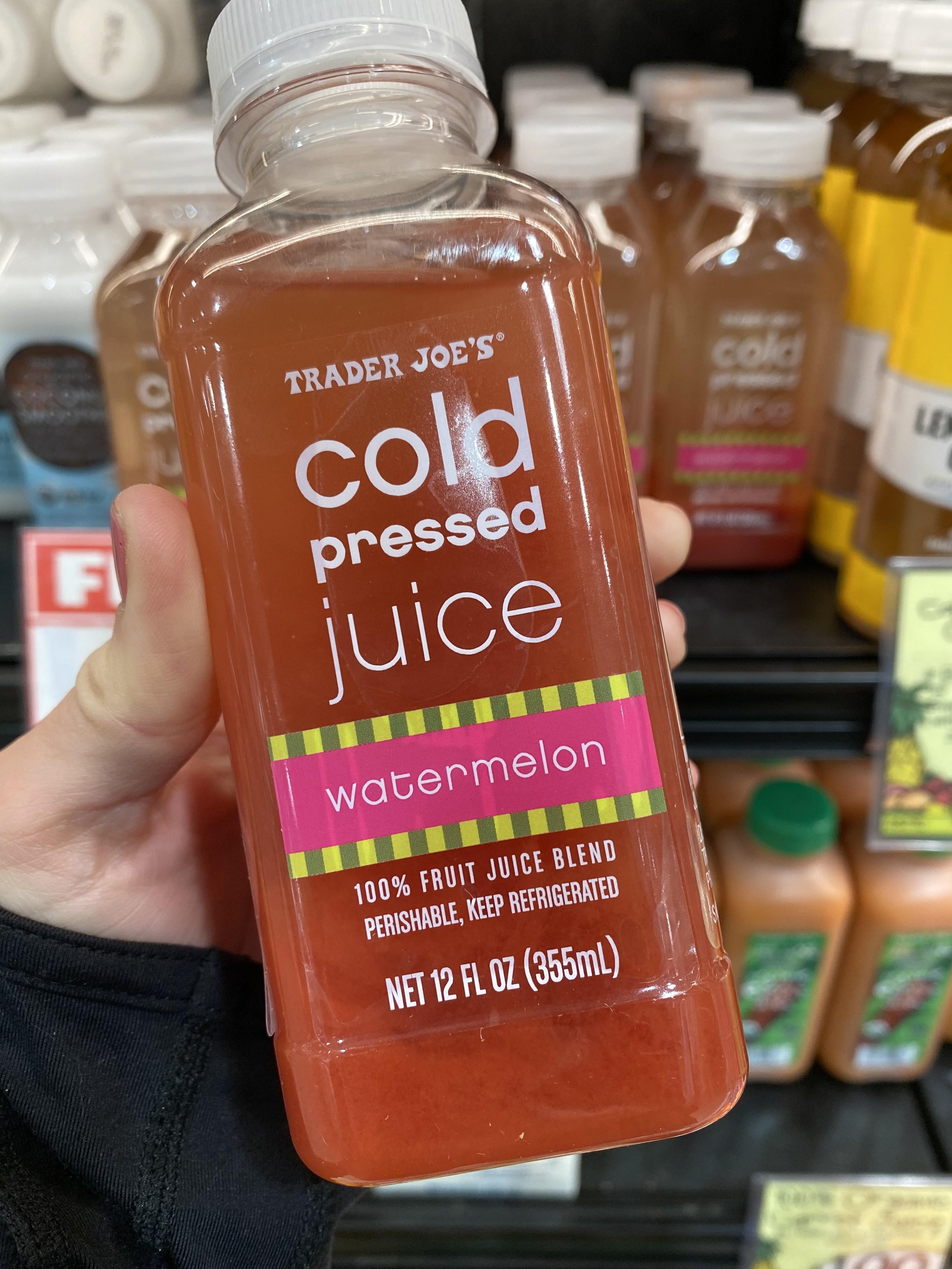 Trader Joe's cold pressed watermelon juice.