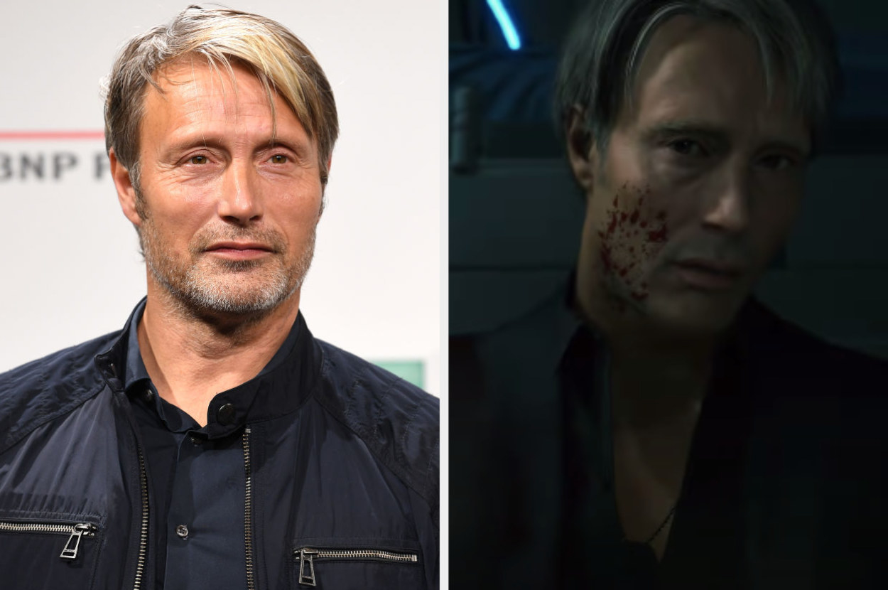 Mads Mikkelsen posing for a photo, Captain Unger sitting on the floor of a lab with blood in Death Stranding