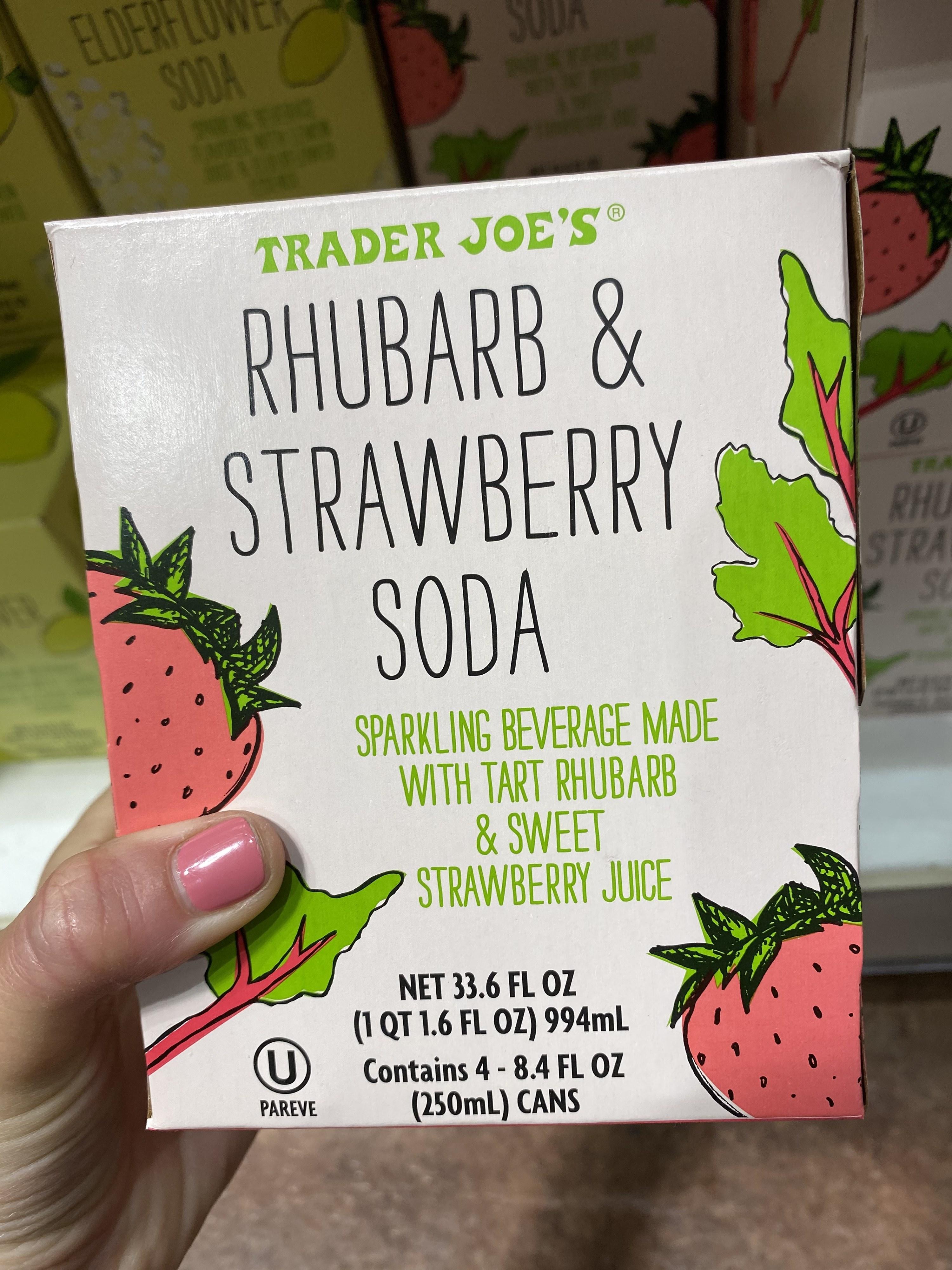 A box of Rhubarb & Strawberry Soda cans.