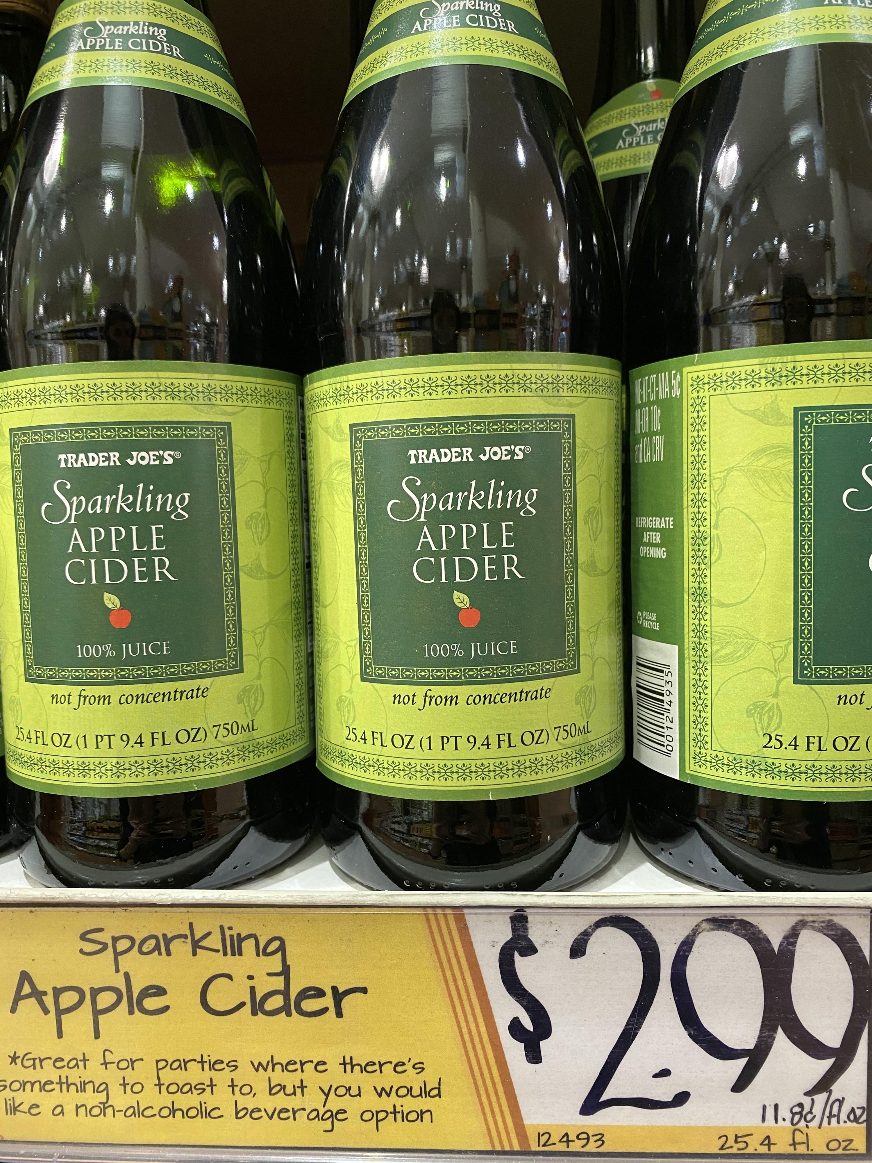 Bottles of sparkling apple cider.