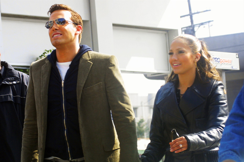 Ben Affleck and Jennifer Lopez holding hands