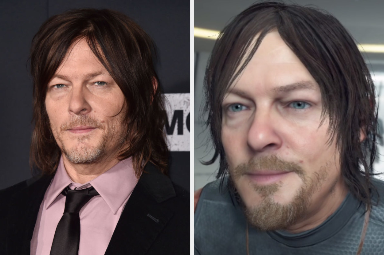 Norman Reedus posing for a photo, Sam in Death Stranding posing for a photo
