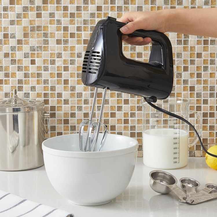 A 5-speed corded hand mixer