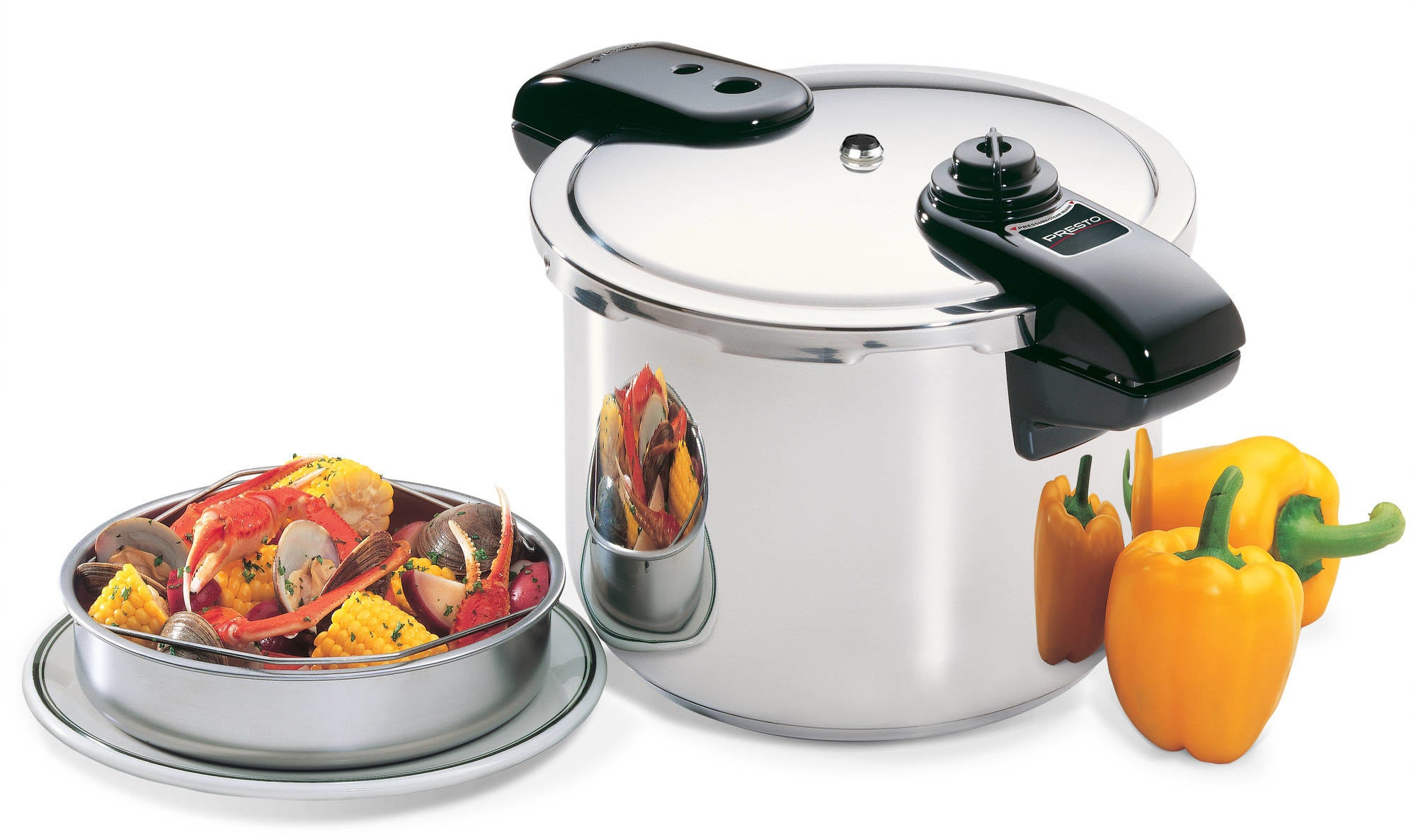 A eight-quart stainless steel pressure cooker