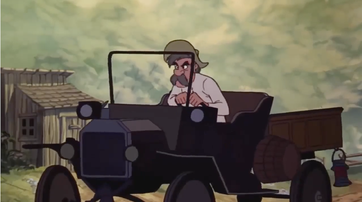 Amos Slade in his old fashioned car