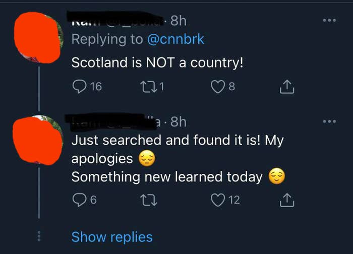 person who thinks Scotland is not a country