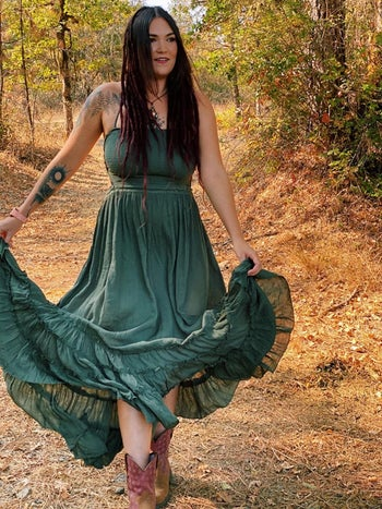 front view of a different reviewer wearing the dress in green
