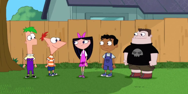 Ferb, Phineas, Isabella, Bajeet, and Buford stand outside