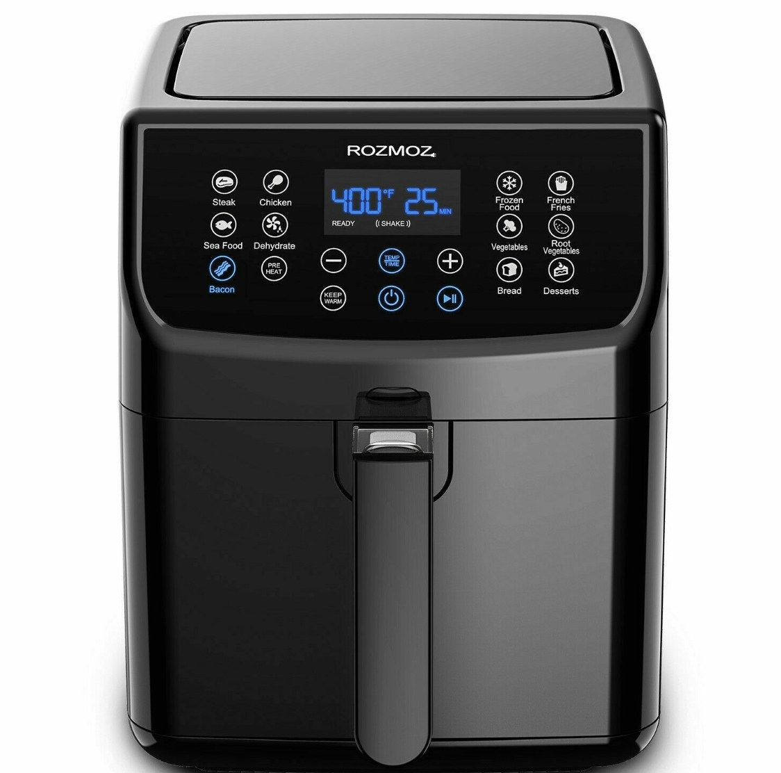 The air fryer is black with white buttons and blue numbers