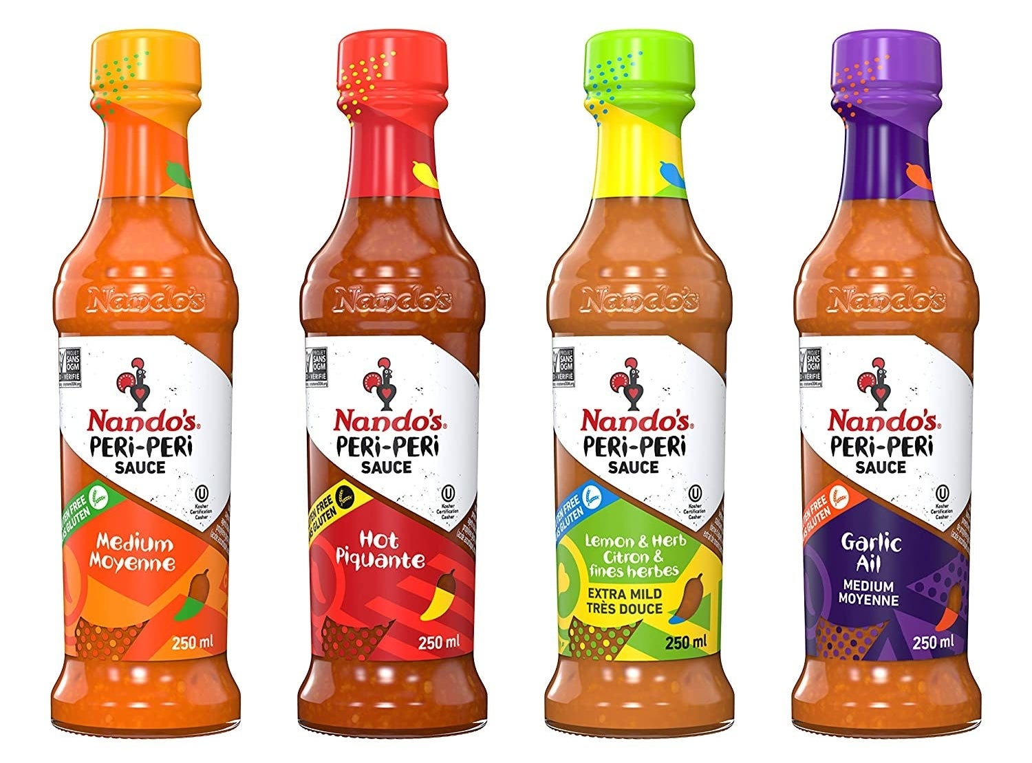 The four bottles of the PERi PERi Artisan Hot Sauce Variety Pack