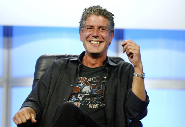 Anthony Bourdain smiles at the Discovery Networks' Travel Channel presentation at the 2005 Television Critics Association Summer Press Tour at the Beverly Hilton Hotel