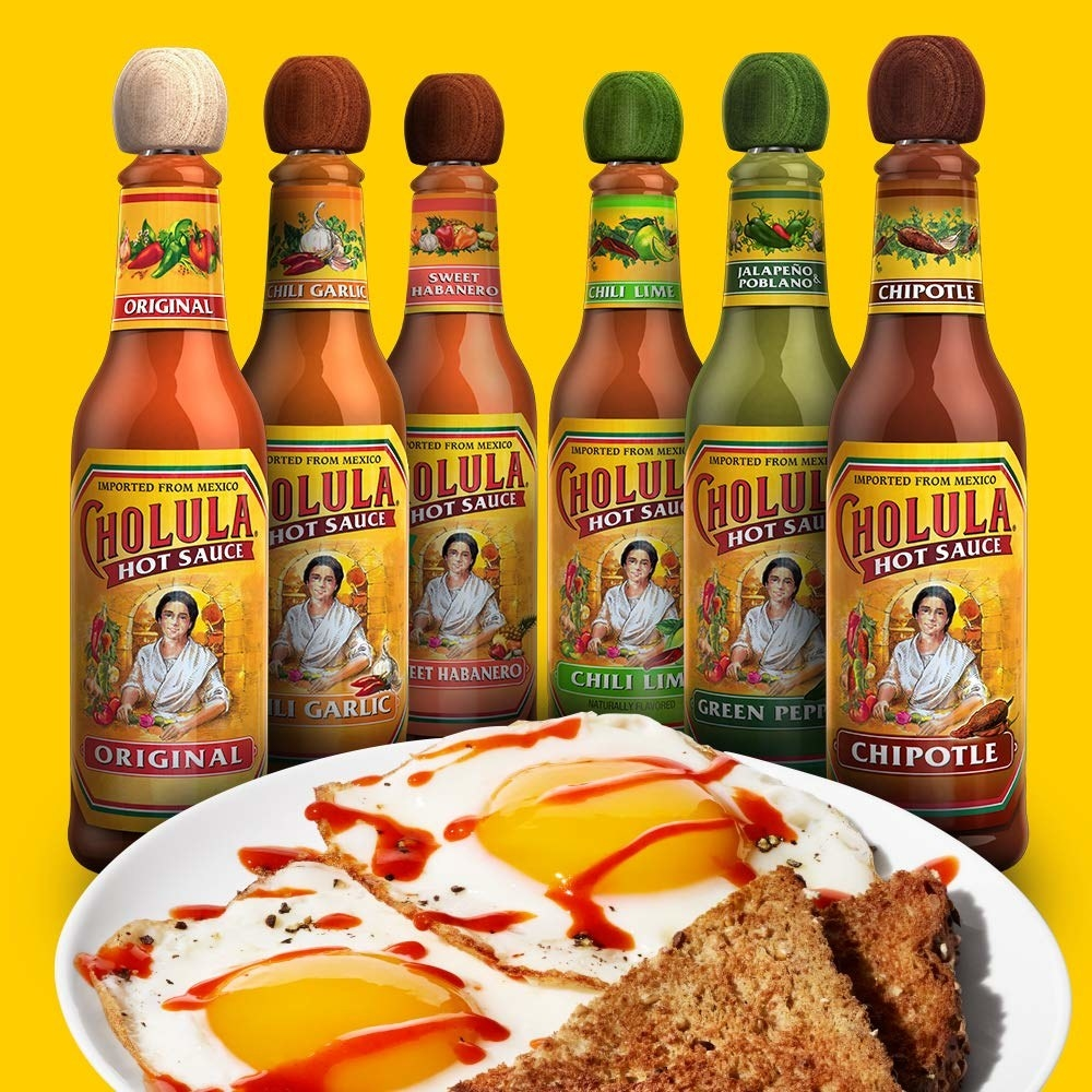 The bottles in the variety pack places begins a plate of eggs and toast