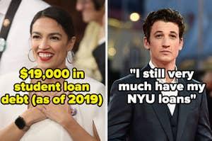 """迈尔斯特拉特和AOC,两者都仍有学生贷款债务""""class="""