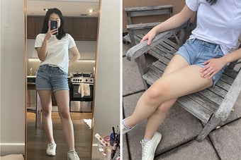 left: writer mirror selfie wearing the shorts with a white t-shirt. right: writer wearing the shorts sitting a chair outside
