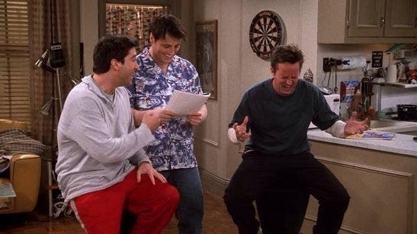 Ross, Joey, and Chandler play a game of Bamboozled on Friends