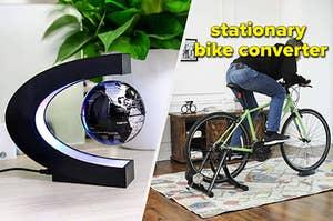 levitsting globe and stationary bike converter