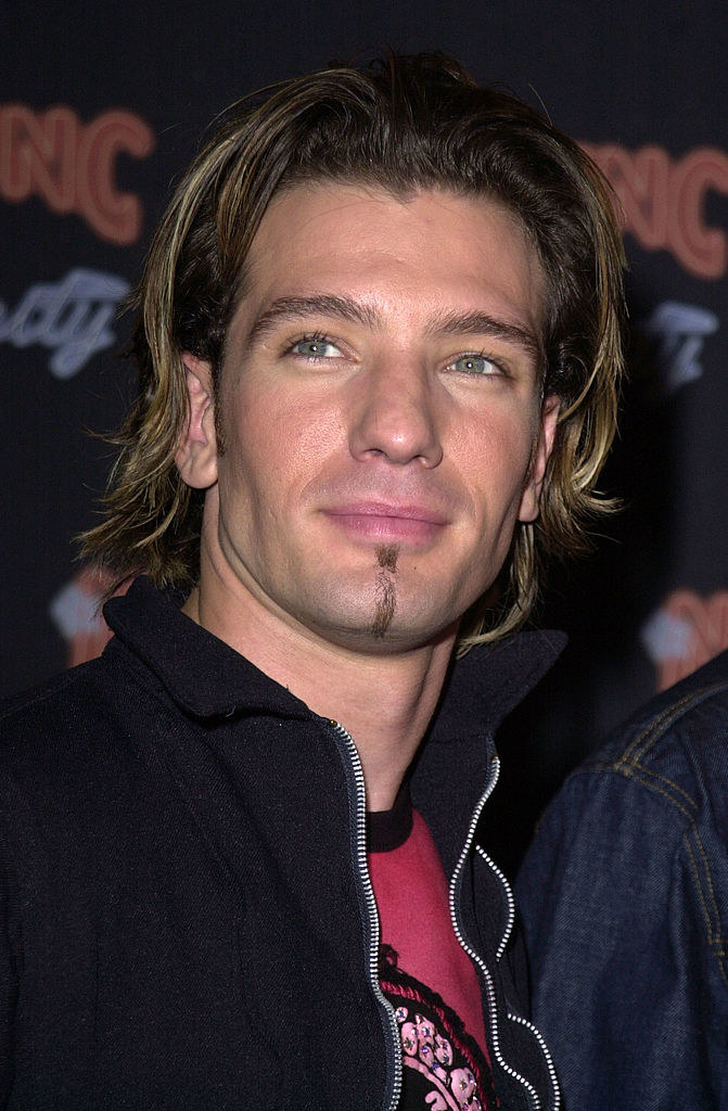 JC Chasez with a chin strap