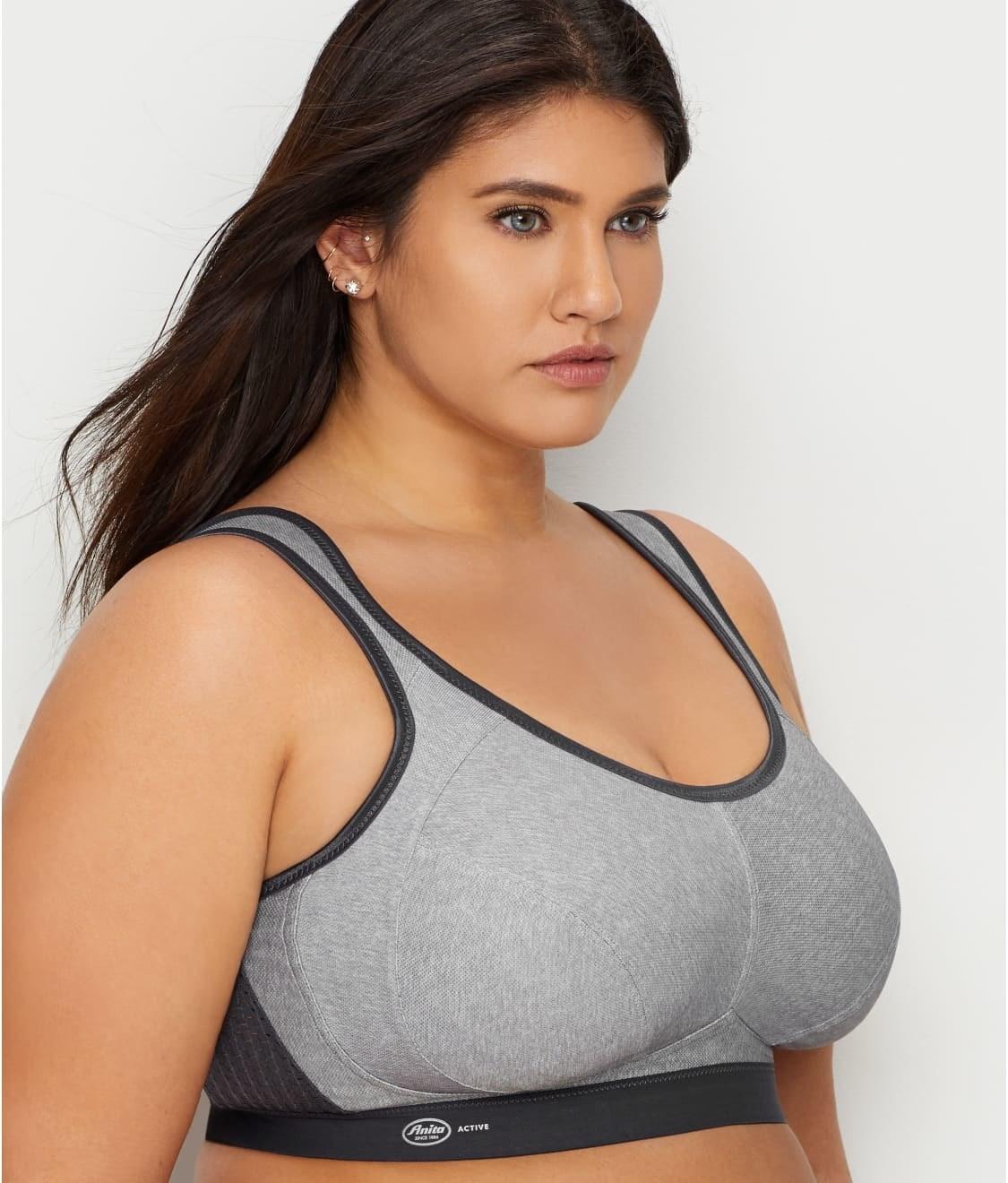 model wears gray and black high-impact sports bra