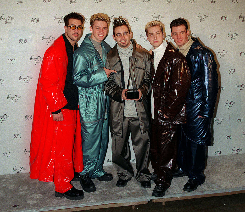 NSYNC in shiny suits