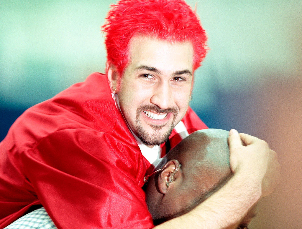 Joey Fatone with bright red hair