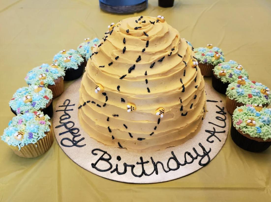 stunning hive and bee cake
