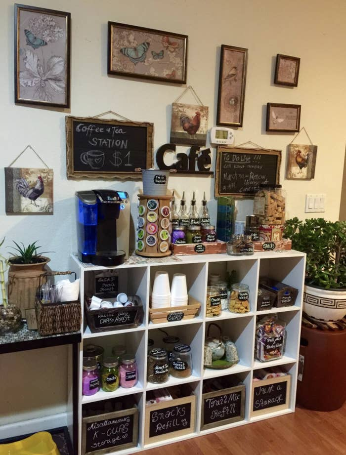reviewer's cube shelves being used for a coffee and snack station