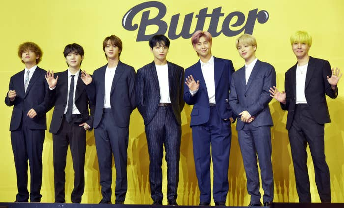 """BTS at the """"Butter"""" press conference"""