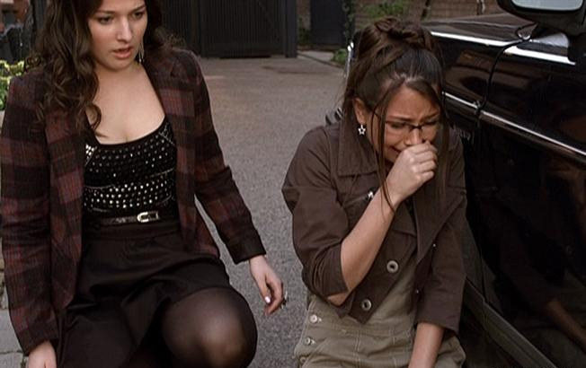 Imogen and Fiona find Volta's body under the car