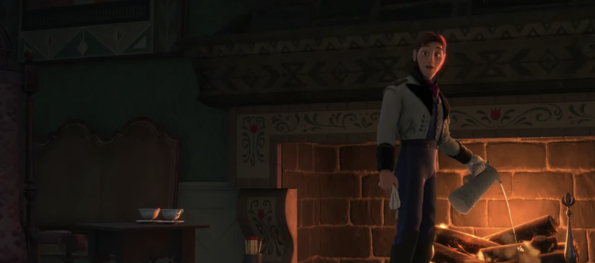 Prince Hans putting out the fire in Frozen