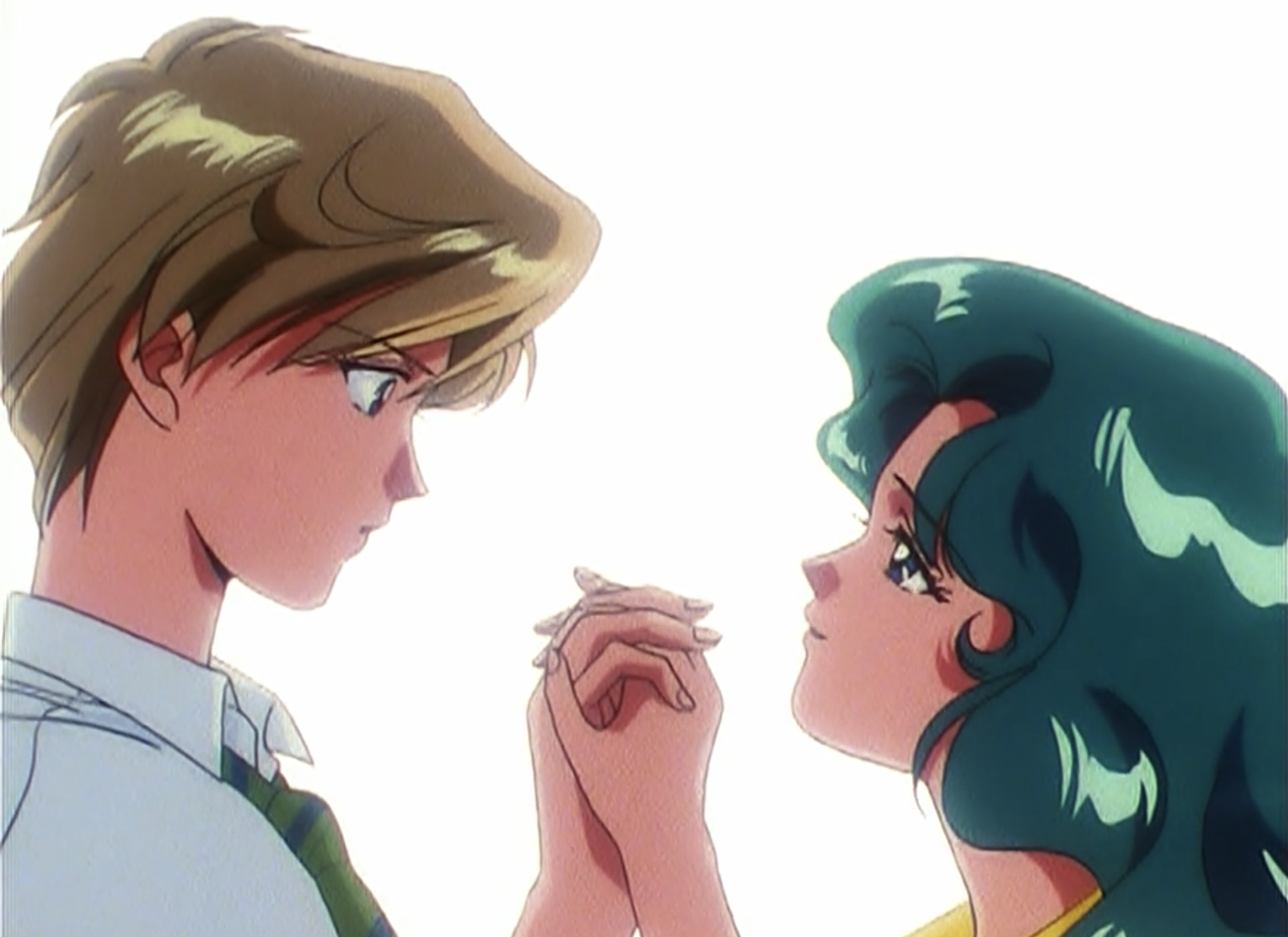 Haruka and Michiru holding hands and looking at each other romantically.