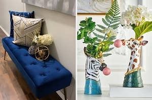 blue velvet bench and vases that look like animals blowing bubblegum