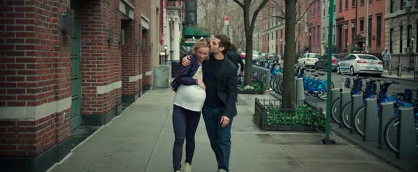 """Pregnant Abby and Will walking down a New York City street in """"Life Itself"""""""
