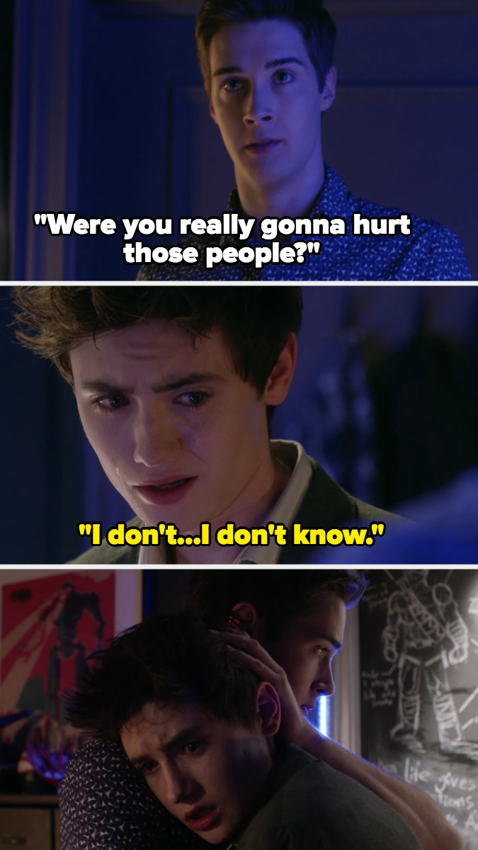 Miles asks Hunter if he was really going to use the gun to hurt people at the dance and Hunter says he doesn't know, breaks down in Miles' arms scared