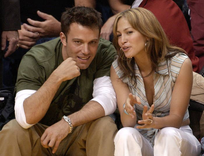 Ben and Jen chat while watching a basketball game