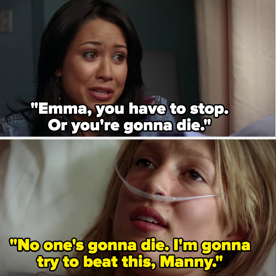 Manny begs Emma to stop starving herself, Emma says from her hospital bed that she's going to beat this