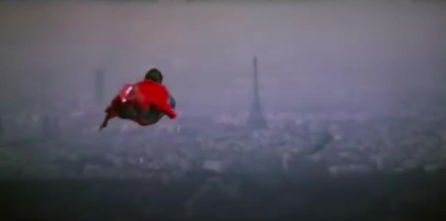 "Superman flying toward the Eiffel Tower in ""Superman II"""