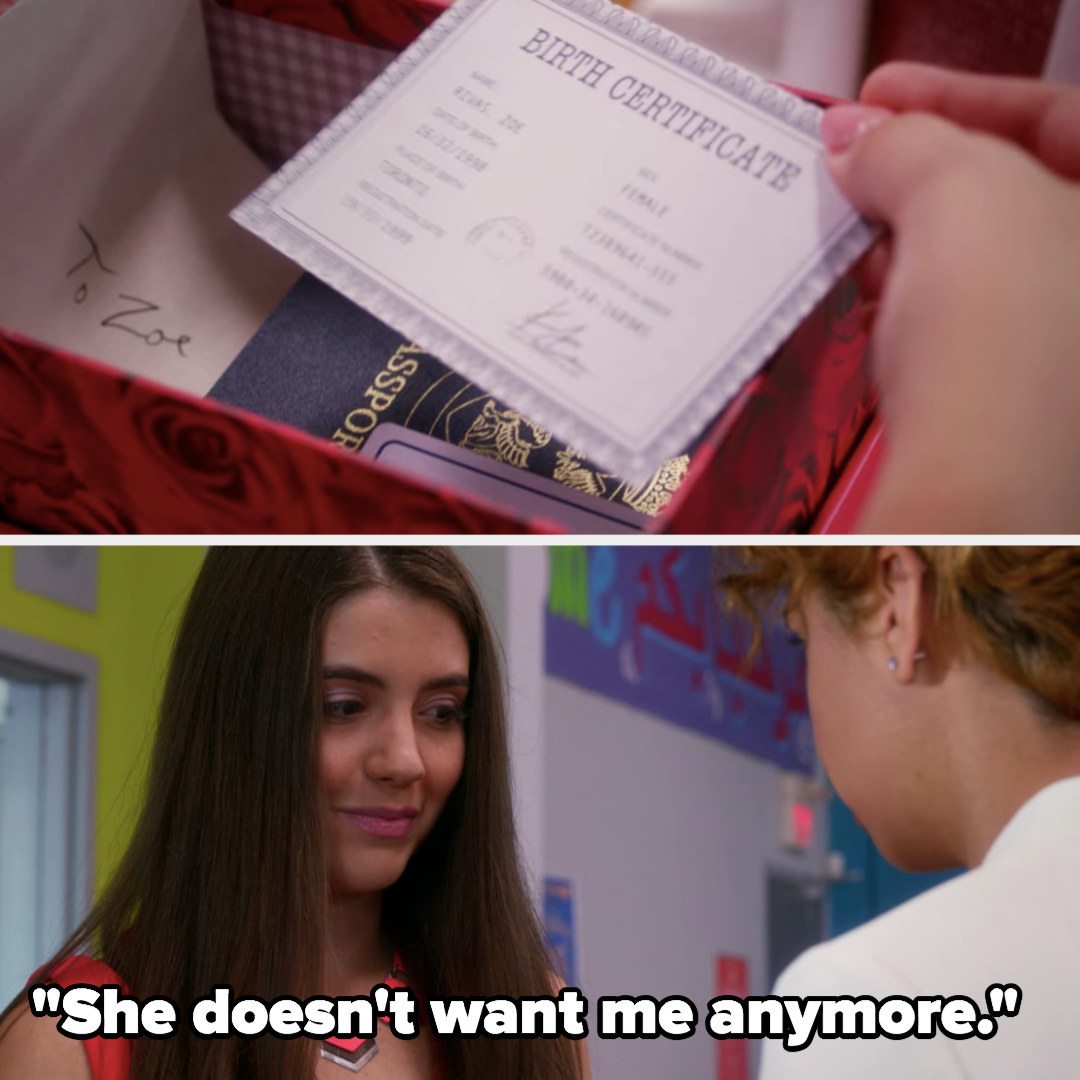 Zoë's step-father drops off her birth certificate documents and a letter from her mother, Zoë realizes she's being disowned