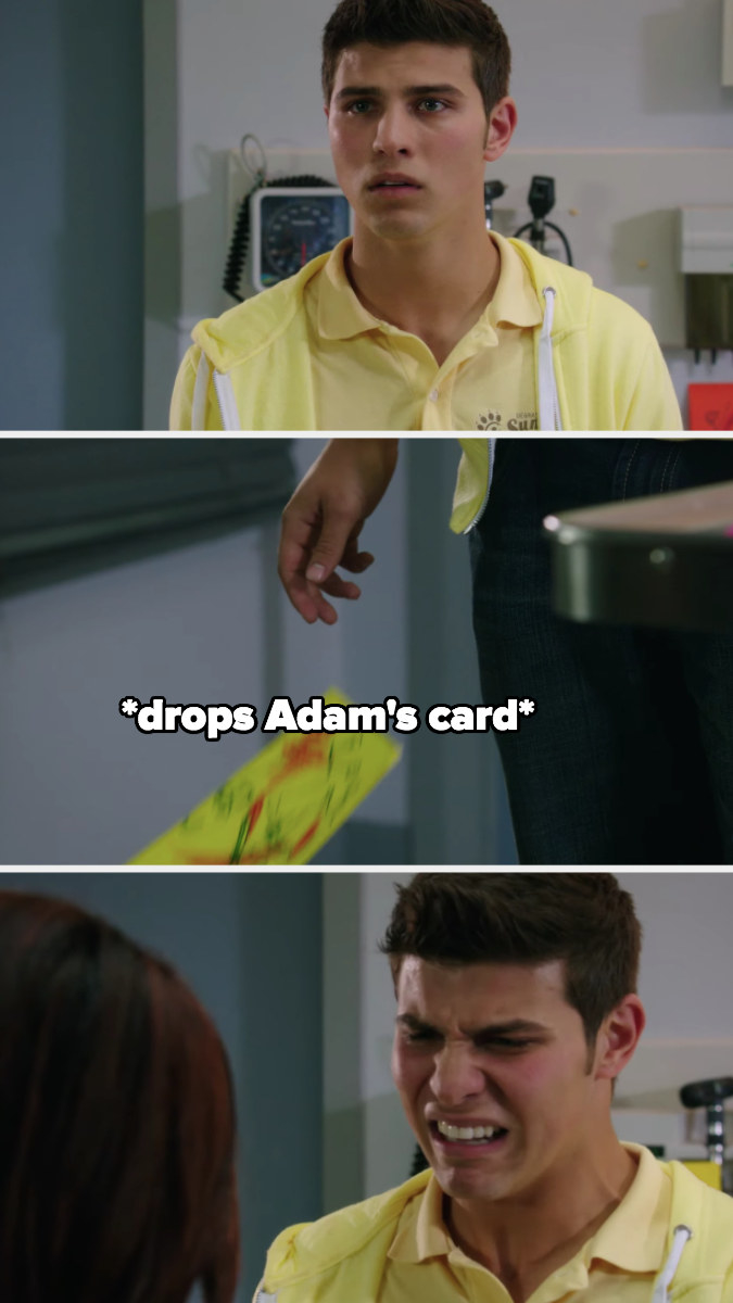 Drew realizes from the look on his mom's face that Adam didn't survive surgery, he drops his get well card and starts crying