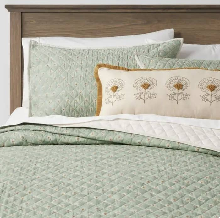 Bedding displayed on bed